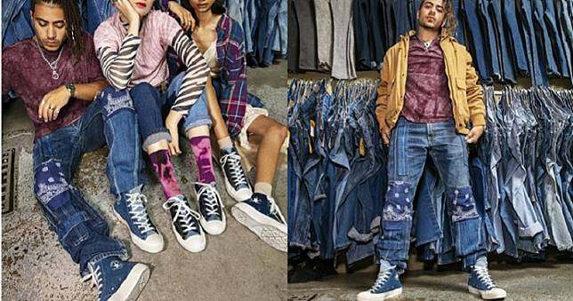 帆布鞋经典丹宁材质上身!Converse将三种不同水洗牛仔布拼块设计,潮到想哭