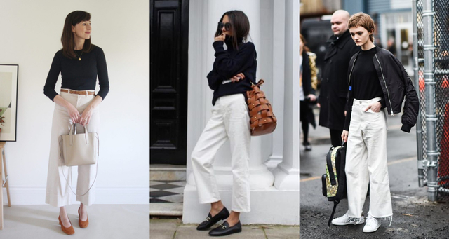 人人惧怕的「白色宽裤」原来这么百搭