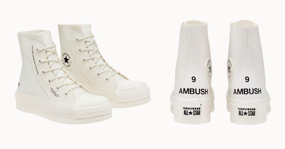 Converse联乘日牌AMBUSH推出奶油白厚底鞋!