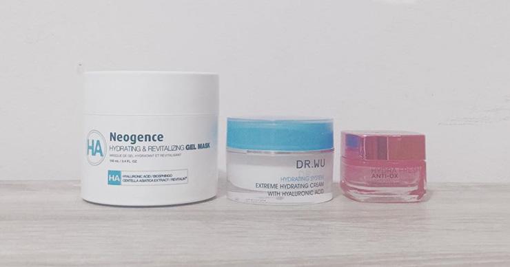 DR.WU玻尿酸保湿精华霜、Neogence玻尿酸能量水冻膜和欧莱雅葡萄籽眼霜使用心得