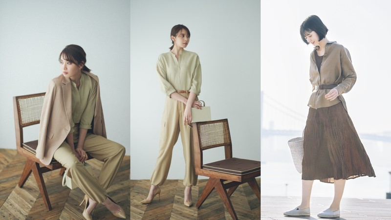 (左起)亚麻混纺七分袖开领上衣、特级亚麻长袖衬衫