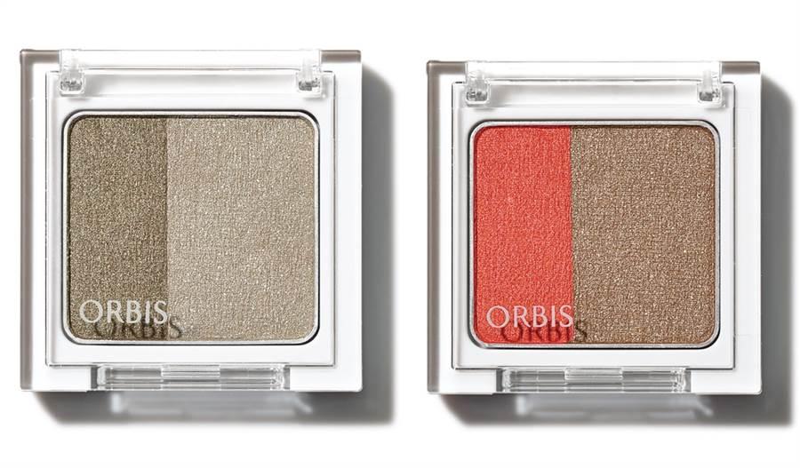 两款秋冬限定色的ORBIS好睛采双色眼影。
